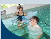 A patient from Garland in the aquatic therapy pool recevies treatment.